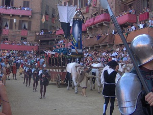 The carroccio of Siena during the Corteo Storico procession preceding the Palio