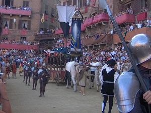 The carroccio of Siena during the Corteo Storico procession preceding the Palio