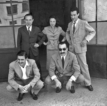 Oriana Fallaci With her uncle Bruno Fallaci and other colleagues from the magazine Epoca