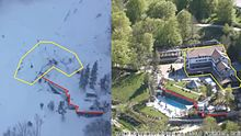 Rigopiano Hotel before and after the avalanche 2017