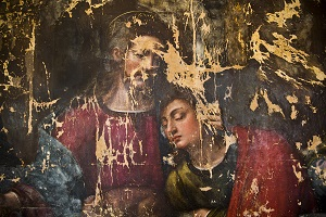 Plautilla Nelli, The Last Supper, detail Jesus and John, during restoration