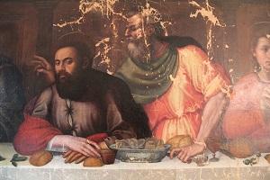 Plautilla Nelli, The Last Supper, During restoration, detail