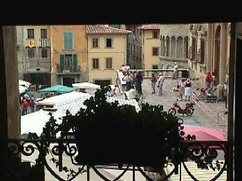Piazza Grande from Vasari Loggia Arezzo