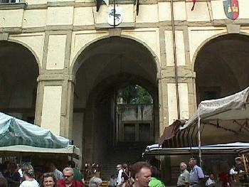 This archway and staircase is part of the Vasari Loggia in Arezzo