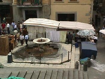 Public fountain located in the Piazza Grande in Arezzo.