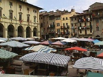 Booths line the Piazza Grande