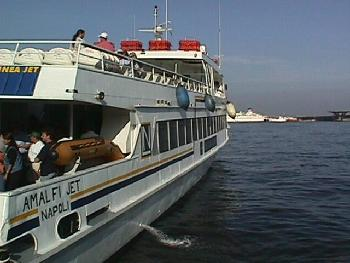 Ferry Transporting People To Capri