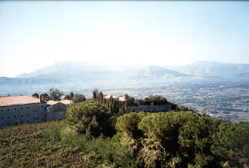 Monte Cassino with Mountains in the Background