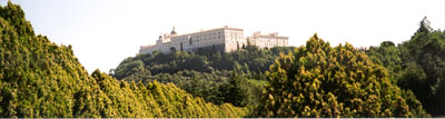 Looking up at the Abbey of Monte Cassino
