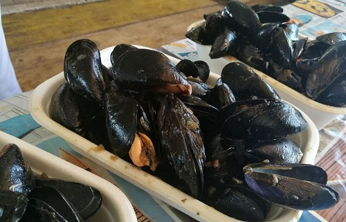Mussels ready to get added to the spaghetti. Sagra delle Cozze, Pedaso