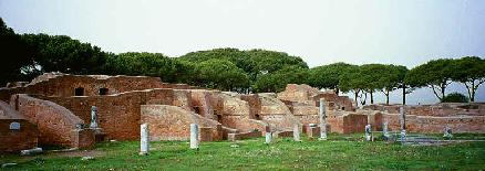 The ancient Roman harbor of Ostia Antica