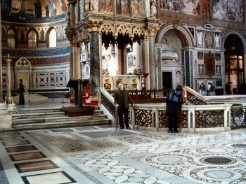 The high altar and confessio located in the Basilica di San Paolo fuori le mura