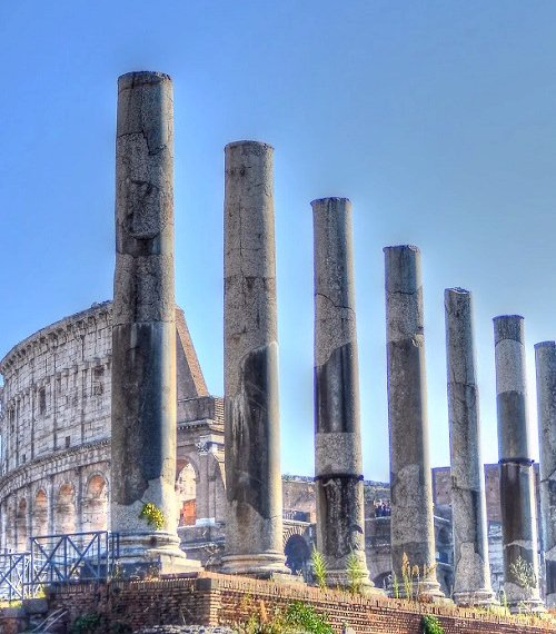 Columns from the Temple of Venus and Roma located in Rome