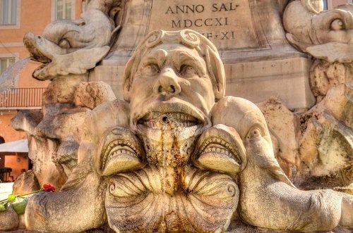 The Fontana del Pantheon located in the Piazza della Rotonda in Rome