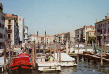 Boats docked along the Grand Canal